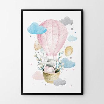 Plakat HOG STUDIO Odlotowy zajączek Różowy, B2, 50x70 cm-Hog Studio