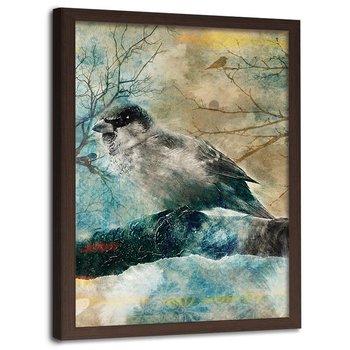 Plakat ozdobny w ramie brązowej, Ptak na gałęzi Przyroda - Plakat w ramie brązowej - 20x30-Feeby