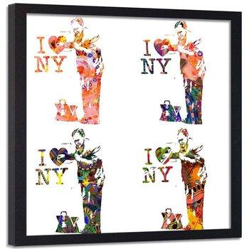 Plakat ozdobny w ramie czarnej, Banksy graffiti I Love NY lekarz - Plakat w ramie czarnej - 50x50-Feeby