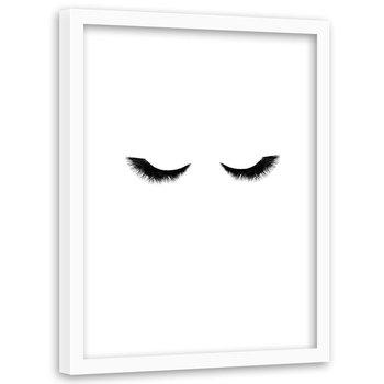 Plakat w ramie białej FEEBY Długie rzęsy, 40x60 cm-Feeby