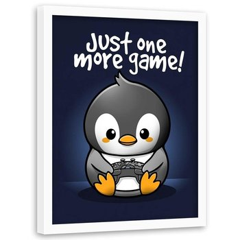 Plakat w ramie białej FEEBY Pingwin gracz dla dzieci i młodzieży, 70x100 cm-Feeby