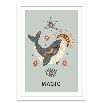 Plakat w ramie białej, Magiczny wieloryb, 70x100 cm-Feeby