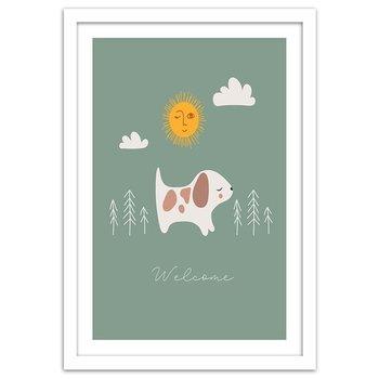 Plakat w ramie białej, Spacer z psem, 70x100 cm-Feeby