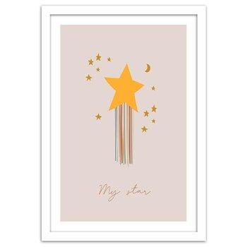 Plakat w ramie białej, Zaczarowana gwiazdka, 70x100 cm-Feeby