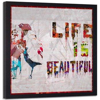 Plakat w ramie czarnej Feeby, Banksy graffiti Life is beautiful 40x40 cm-Feeby