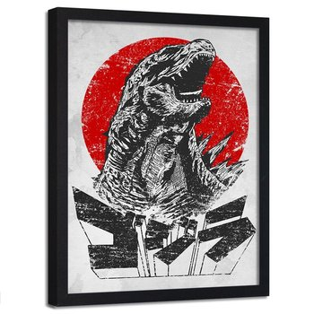 Plakat w ramie czarnej FEEBY Przerażająca Godzilla, 40x60 cm-Feeby