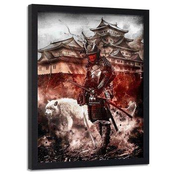 Plakat w ramie czarnej FEEBY Samuraj i biały wilk, 70x100 cm-Feeby