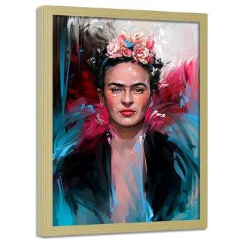 Plakat w ramie naturalnej FEEBY Frida Kahlo, 50x70 cm-Feeby