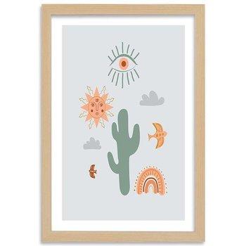 Plakat w ramie naturalnej, Magiczny kaktus, 30x45 cm-Feeby