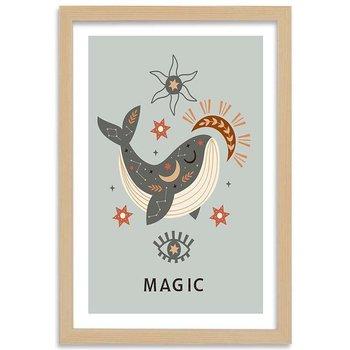 Plakat w ramie naturalnej, Magiczny wieloryb, 70x100 cm-Feeby