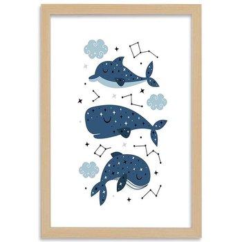 Plakat w ramie naturalnej, Wesołe wieloryby, 70x100 cm-Feeby