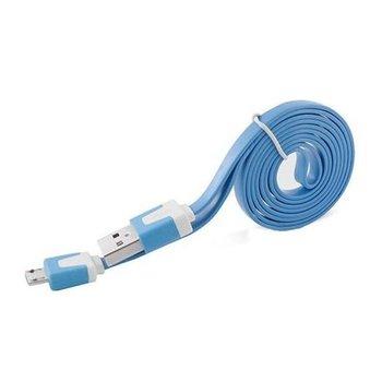 Płaski kabel do ładowania micro USB 1m - Niebieski.-EtuiStudio