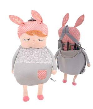 Plecak przedszkolaka, pluszowy lalka szara, METOO-KIK