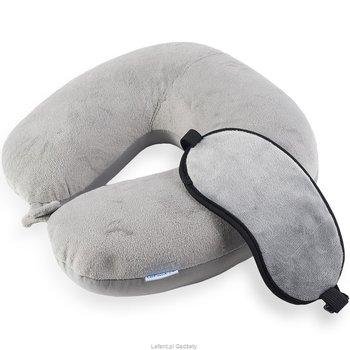Poduszka podróżna ortopedyczna LEFANT, + maska, szara, 30x30x12 cm, 2 elementy-Lefant