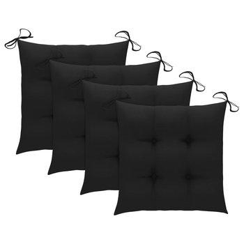 Poduszki na krzesła, 4 szt., czarne, 40x40x7 cm, tkanina-vidaXL