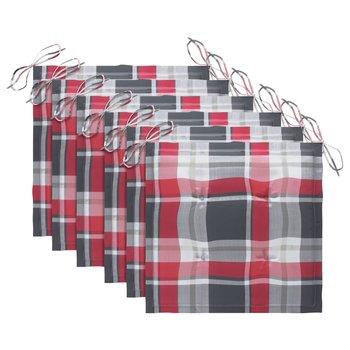 Poduszki na krzesła ogrodowe, 6 szt., czerwona krata, 40x40x4cm-vidaXL