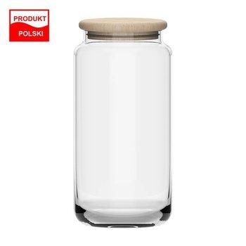 Pojemnik na żywność szklany z drewnianą pokrywką Kalle Eco 1220 ml-TREND_GLASS