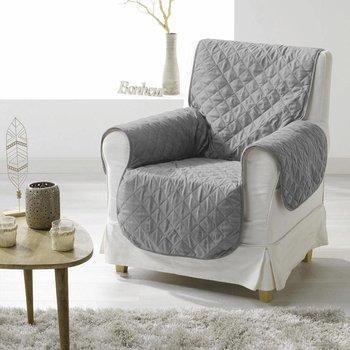 Pokrowiec na fotel 165 x 179 cm z mikrofibry, kolor szary-Douceur d'intérieur