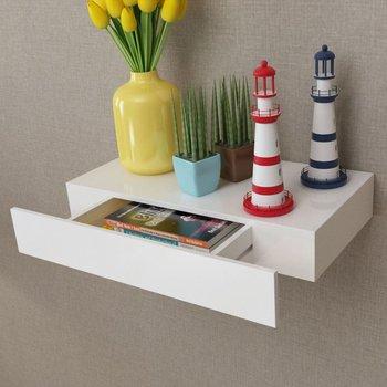 Półka wisząca z szufladą vidaXL, biała, 8x48x25 cm-vidaXL