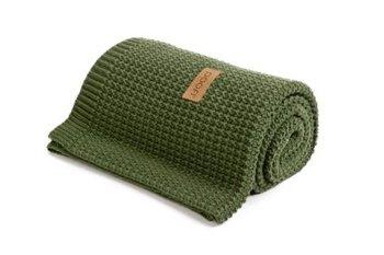 Poofi, Organic, Kocyk tkany, 80x100 cm, Zielony-Poofi