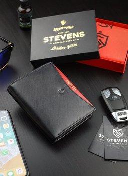 Portfel Męski Skórzany STEVENS Ochrona RFID Czarny + Czerwony Nowoczesny-Stevens