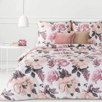 Pościel 140x200 satyna bawełniana biała różowa kwiaty-Eurofirany