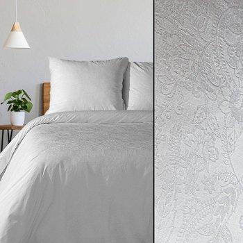 Pościel 220x200 bawełniana adamaszek z żakardowym wzorem biała, Premium-Eurofirany