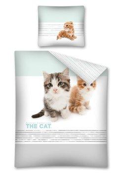 Pościel DETEXPOL The Cat, szara, 160x200 cm, 2-elementowa-Detexpol