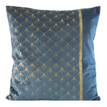 Poszewka EUROFIRANY Velvet, granatowo-złota, 45x45 cm-Eurofirany
