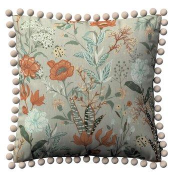 Poszewka Wera na poduszkę, kolorowe kwiaty na szarym tle, 45 × 45 cm, Flowers-Dekoria