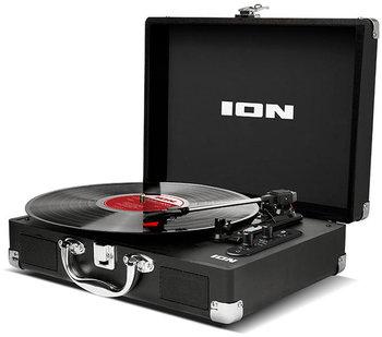 Przenośny gramofon w formie walizki z wbudowanym akumulatorem, głośnikami, usb i bluetooth (czarny)-ION