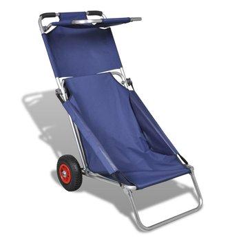 Przenośny wózek i krzesło w jednym, składany, niebieski-vidaXL