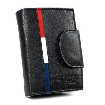 Przepiękny skórzany portfel damski, marki LOREN®, zapinany na zatrzask-Loren