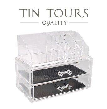 PRZEZROCZYSTA SZKATUŁKA / ORGANIZER NA KOSMETYKI I BIŻEUTERIA˜ 18,8x11,7x15,8h cm-Tin Tours