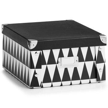 Pudełko ozdobne z kartonu, ZELLER, czarno-białe, 26x31x14 cm-Zeller