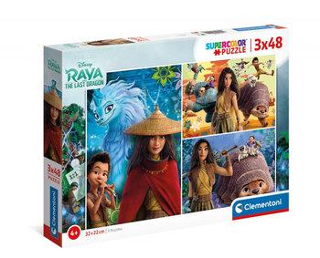 Puzzle 3x48 elementów Super Kolor Raya and The Last Dragon-Clementoni