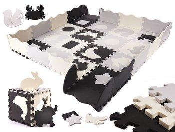 Puzzle piankowe mata/Kojec dla dzieci, Czarne-Szare-Ecru, 36 szt.-Bard
