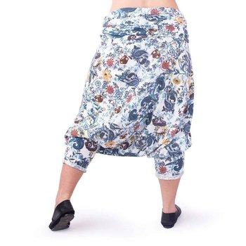QART Fashion - Spodnie pumpy - alladynki - kwiaty niebieskie - L-QART
