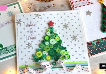 Quilling - pomysły na świąteczne kartki z choinkami