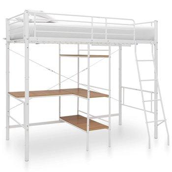 Rama łóżka piętrowego biała, z biurkiem, 90x200 -vidaXL