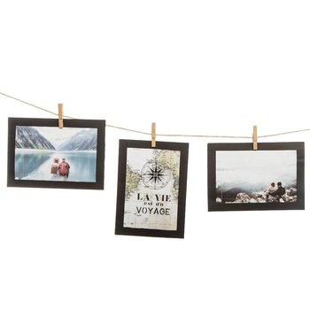 Ramki na zdjęcia 10x15cm, sznur z klamerkami, kolor czarny-Atmosphera