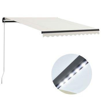 Ręcznie zwijana markiza z LED, 300 x 250 cm, kremowa-vidaXL
