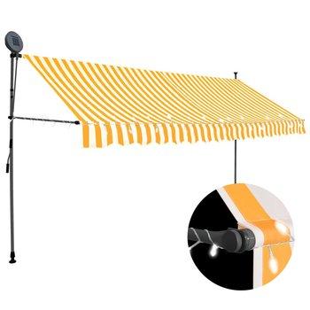 Ręcznie zwijana markiza z LED VIDAXL, biało-pomarańczowa, 350 cm-vidaXL