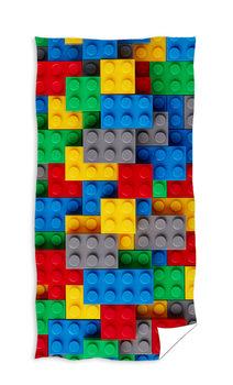 RĘCZNIK BAWEŁNA FROTE 70x140 KLOCKI LEGO KOLOROWY-Jerry Fabrics