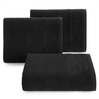 Ręcznik kąpielowy czarny 70x140 frotte 500g/m2 elegancki z welurową bordiurą, bardzo puszysty i miękki Linea-Eurofirany