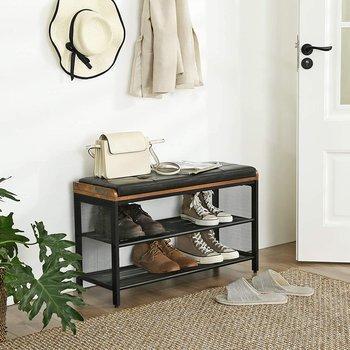Regał na buty z miękkim siedziskiem. Styl industrialny, rustykalny, loft-Vasagle