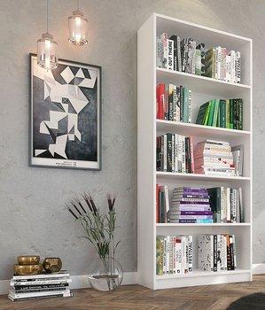 Regał na książki ELIOR Nidan 4X, biały, 30x80x182 cm-Elior