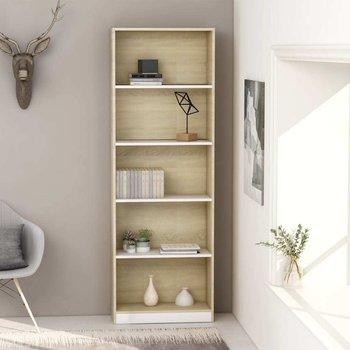 Regał na książki VIDAXL, biel i brąz, 60x24x175 cm, 5-poziomowy-vidaXL
