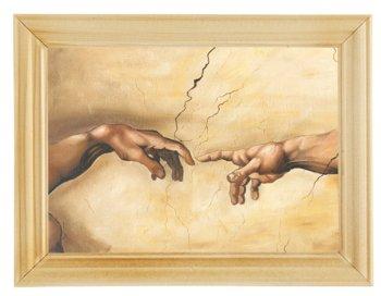 Reprodukcja obrazu w drewnianej ramie o wymiarach 13x18 cm- Stworzenie Adama, Michał Anioł-Postergaleria