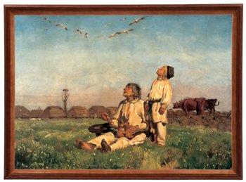 Reprodukcja obrazu w drewnianej ramie o wymiarach 50x70 cm -  Bociany, Józef Chełmoński-Postergaleria